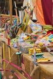 Drewniane zabawki przy jarmarkiem Obrazy Royalty Free