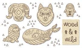 Drewniane zwierzę postacie Eco życzliwe zabawki Obrazy Stock