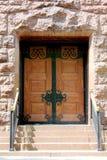 Drewnianego i Dokonanego żelaza Dwoiści drzwi Obraz Stock