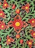 Drewnianego kolorowego kwiecistego cyzelowanie dekoracyjnego panelu Textural tło Fotografia Royalty Free