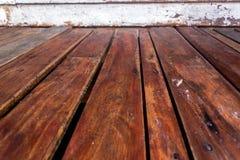 Drewnianego panelu tekstury perspektywy pusty podłogowy tło Zdjęcia Royalty Free
