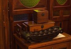 Drewnianego pudełka zbiornika przedziału pusty tek tradycyjny Obrazy Royalty Free