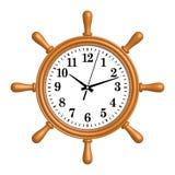 Drewnianego statku koła ścienny zegar 3D skutka wektor zdjęcia royalty free