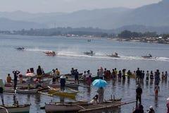 Drewnianej prędkości łódkowata rasa w Cagayan De Oro Miasto Fotografia Royalty Free