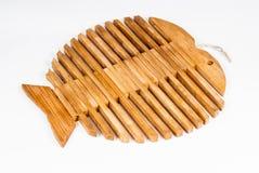 Drewnianej ryba Kształtna taca Fotografia Stock