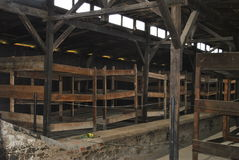 Drewniani łóżka w koszary, Birkenau koncentracyjny obóz Obrazy Royalty Free