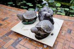 Drewniani żółwie dekorują w ogródzie Obrazy Stock
