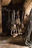 Drewniani żaglówek pulleys Zdjęcie Stock