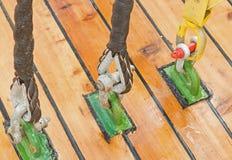 Drewniani żaglówek pulleys, arkany i Obrazy Stock