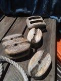 Drewniani żaglówka bloki fotografia royalty free