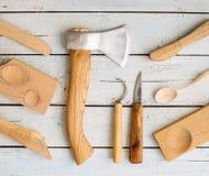Drewniani carver ` s instrumenty zdjęcie royalty free