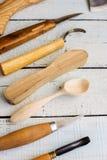 Drewniani carver ` s instrumenty obraz royalty free