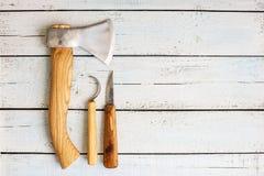 Drewniani carver ` s instrumenty zdjęcie stock