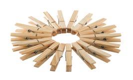 Drewniani clothespins w okręgu Zdjęcia Royalty Free