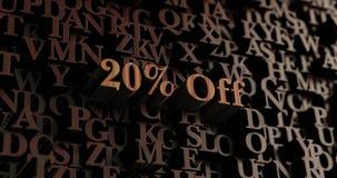 20% Drewniani 3D odpłacający się listy Daleko -/wiadomość Obraz Royalty Free