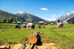 Drewniani domy w krajobrazie i dolinie Obraz Stock