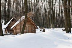 Drewniani domy w śniegu przy zima rankiem Fotografia Royalty Free