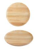 Drewniani dwa talerza widoku różny kąt odizolowywający na bielu Zdjęcie Royalty Free