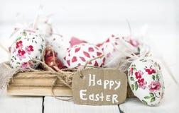 drewniani Easter pudełkowaci jajka Zdjęcie Stock