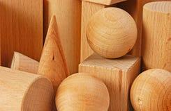 Drewniani geometryczni kształty Zdjęcie Stock
