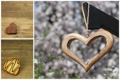 Drewniani i biskwitowi serca Obraz Stock