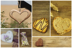 Drewniani i biskwitowi serca Fotografia Royalty Free