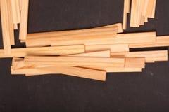 Drewniani kije na czarnym tle zdjęcie royalty free