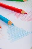 Drewniani kolorów ołówki na białym tle Zdjęcie Stock