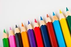 Drewniani kolorów ołówki na białym tle,  Obraz Royalty Free