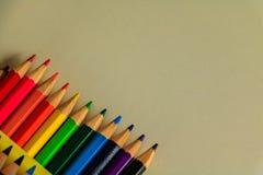 Drewniani kolorowi ołówki Obrazy Royalty Free