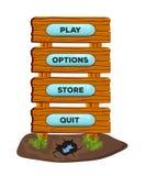 Drewniani kreskówka panel w postaci drogowego znaka sztandaru dla lub online gry UI i wyszukiwarek zastosowań z menu guzikami wek royalty ilustracja