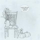 Drewniani krzesła i rocznik wazy wciąż życie Zdjęcia Stock