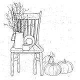 Drewniani krzesła i rocznik wazy wciąż życie ilustracji