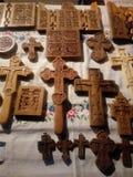Drewniani krzyże i drewniane pastylki zdjęcie royalty free