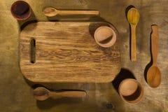 Drewniani kuchenni akcesoria Obrazy Royalty Free