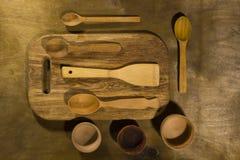 Drewniani kuchenni akcesoria Obraz Royalty Free