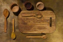 Drewniani kuchenni akcesoria Zdjęcia Royalty Free