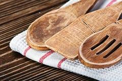 Drewniani kuchenni naczynia Zdjęcia Royalty Free