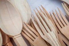 Drewniani kuchenni naczynia Obrazy Royalty Free