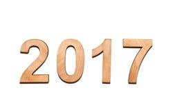 Drewniani liczebniki 2017 odizolowywający na bielu Zdjęcie Royalty Free