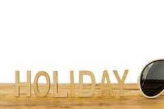 Drewniani listy buduje słowo wakacje Obrazy Stock
