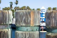 Drewniani molo pilony Fotografia Royalty Free
