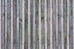 Drewniani ogrodzenie od cienkich desek, niezmienne gwoździami i śrubami, wiele kępki, pękamy, narysy i rozchylenia na złączu, nat fotografia royalty free
