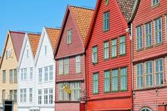 drewniani osobliwie Bergen domy Fotografia Stock