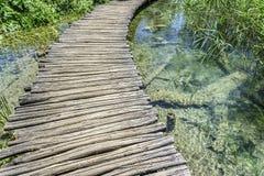 Drewniani przejścia przez jezior Zdjęcia Royalty Free