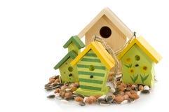drewniani ptasi domy obraz stock