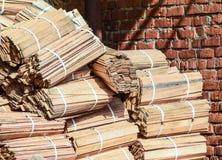 Drewniani pudełka brogujący wpólnie Magazynów puści drewniani zbiorniki Obraz Royalty Free