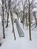 Drewniani schodki na starym kopu, Lithuania obrazy royalty free