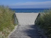 Drewniani schodki plaża między diunami Zdjęcia Stock