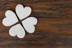 Drewniani serca w szczególe Fotografia Stock